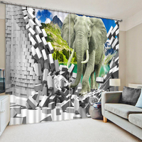 Custom Blackout Curtains Custom Modern 3D Photo elephant Curtain Kitchen Curtains Home Decor