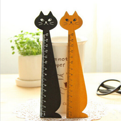 15cm Lovely Cat Shape Ruler Cute Wood Animal Straight Rulers Gifts For Kids School Learning Supplies Stationery Black Yellow