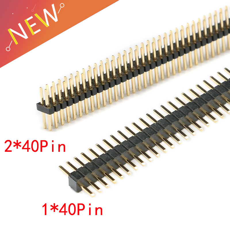 10pcs/lot 1.27mm 1*40 2*40 Pin Pin Header Male Pitch Male Single/Double Row Pin Header Strip Gold Plated Copper Connector