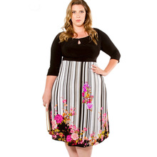 Plus Size Women's Tunic print Dress long sleeve autumn winter ladies fashion dress