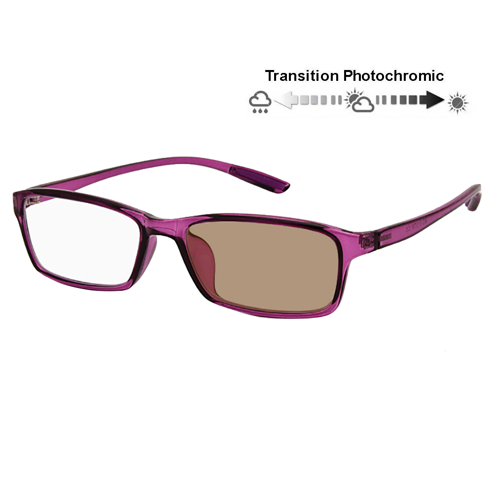 Transition Photochromic Computer Reader Retro Nerd Woman Reading Glasses Flexible Temples UV400 Sunglasses