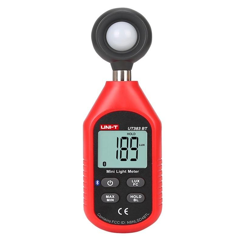 UNI T UT383BT (Bluetooth) цифровой люксовый Мини Измеритель света, экологическое испытательное оборудование, ручной тип люксметр, фотометр