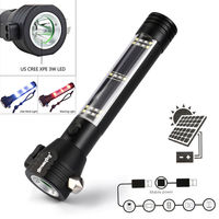 9 in 1 Multi Functional Led Flashlight 18650 Battery Power Bank Solar Powered Compass Outdoor Sport Emergency Survival Tool