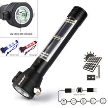 9 in 1 Multi-Functional Led Flashlight Solar Powered Battery Power Bank Outdoor Sport Emergency Survival Tool safety hammer