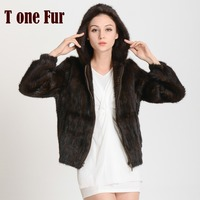 New Arrival Knitted Mink Fur Coat Hood with Zipper Top Sell Genuine Fur Jacket Fashion Free shipping KHP282