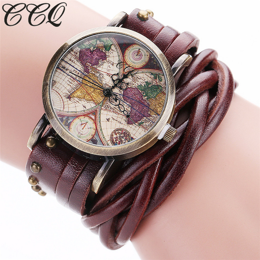 CCQ Brand Fashion Vintage Retro Rivet Braided Genuine Leather World Map Watch Casual Women Quartz Watch Relogio Feminino