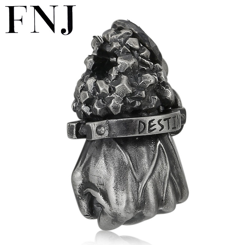FNJ 925 Silver Destiny Pendant Punk Hand Your Fate Hang Original Pure S925 Thai Silver Pendants