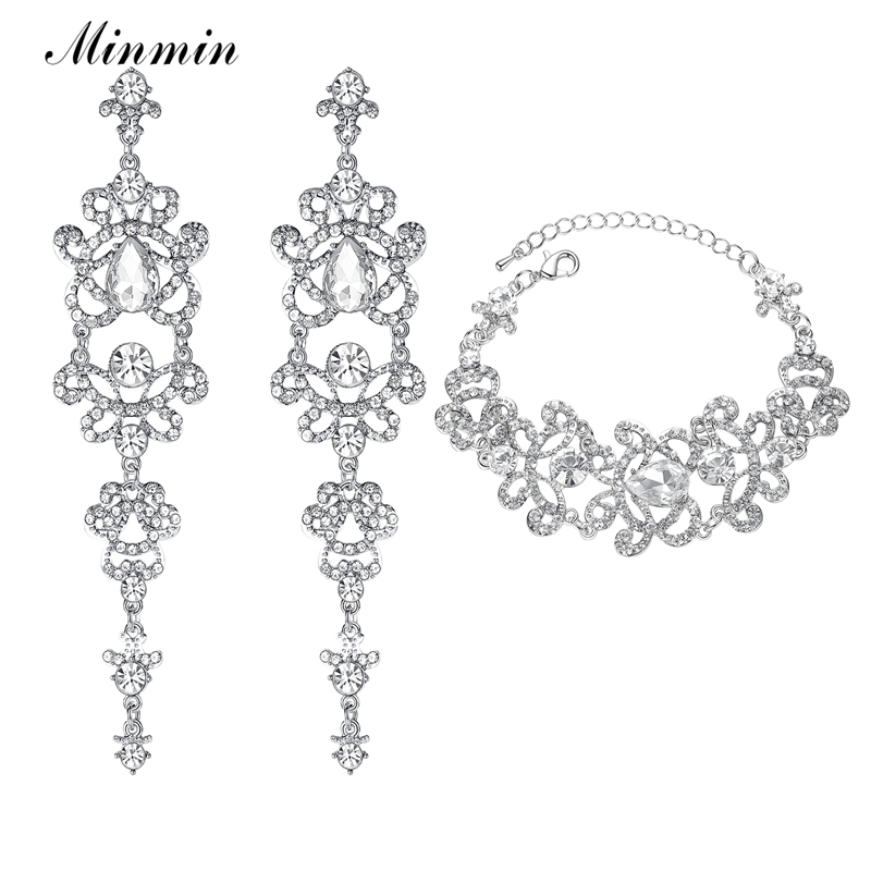 Minmin Crystal Bridal <font><b>Jewelry</b></font> <font><b>Sets</b></font> Butterfly Bracelet Earrings <font><b>Sets</b></font> Wedding African Beads <font><b>Jewelry</b></font> <font><b>Set</b></font> <font><b>for</b></font> Women <font><b>2019</b></font> EH166+SL032 image
