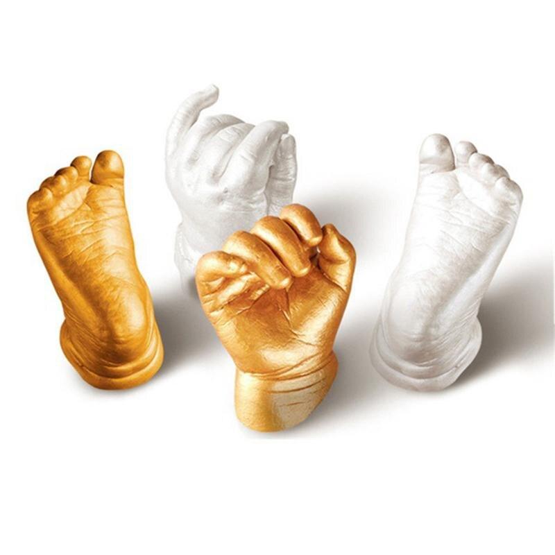 Baby Handprint Footprint Keepsake Gift 3D Baby Growth Memorial  Powder Plaster Casting Baby Hand & Foot Print Mold