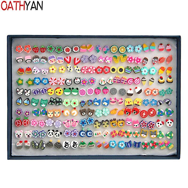 OATHYAN 100 Pairs/Set Handmade Plant Fruit Stud Earrings Sets Mix Girl Kids Minimalist Jewelry Flower Polymer Clay Earrings Gift цена и фото