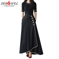 Sebowel 2018 Black A Line Maxi Skirt High Waist Piped Button Long Skirts Womens Winter Ladies