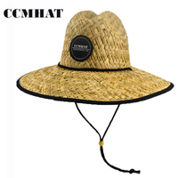 CCMHAT Straw Feminino Panama Straw Hat Wide Brim 12cm Summer Beach Sun Hat Women Novelty Lifeguard Straw Hat Chapeu Masculino