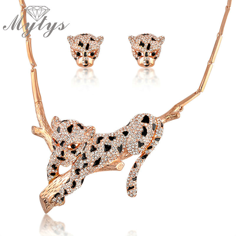 Mytys Animal Leopard Jewelry Sets for Women New Fashion Zircon Crystal Pave Setting Gorgeous Necklace Earrings Sets N1331 viennois new blue crystal fashion rhinestone pendant earrings ring bracelet and long necklace sets for women jewelry sets