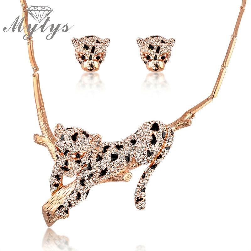 Mytys 동물 표범 쥬얼리 여성을위한 새로운 패션 지르콘 크리스탈 포장 설정 화려한 목걸이 귀걸이 세트 n1331-에서보석 세트부터 쥬얼리 및 액세서리 의  그룹 1