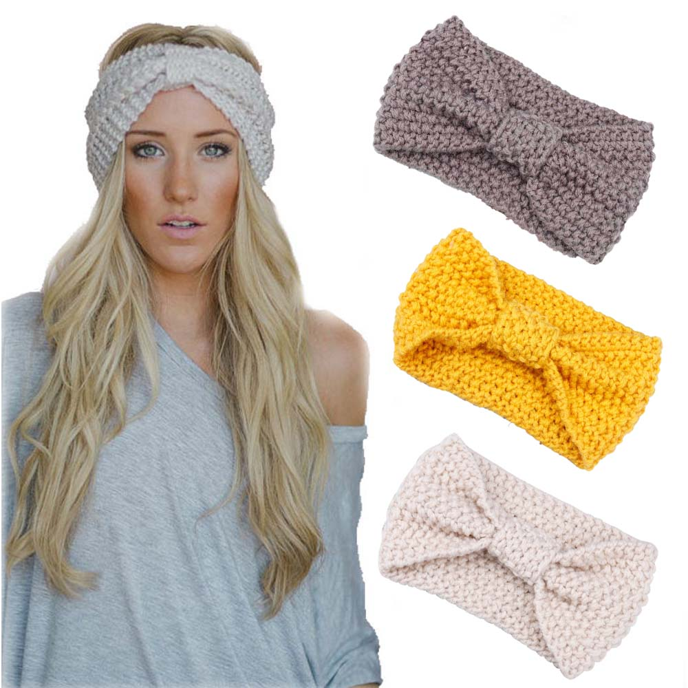 c68cd1a6d 1 PC Fashion Headband Winter Women Lady Warmer Crochet Bowknot ...