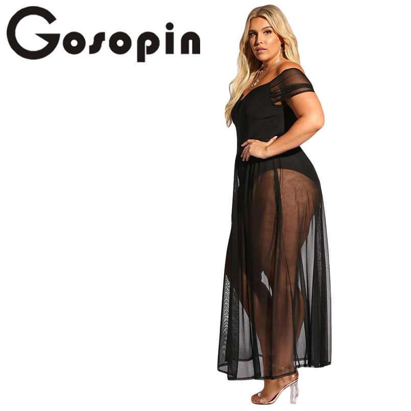 Gosopin плюс размер открытое летнее платье с v-образным вырезом сексуальное Клубное платье с открытыми плечами черное прозрачное пляжное длинное платье LC610183