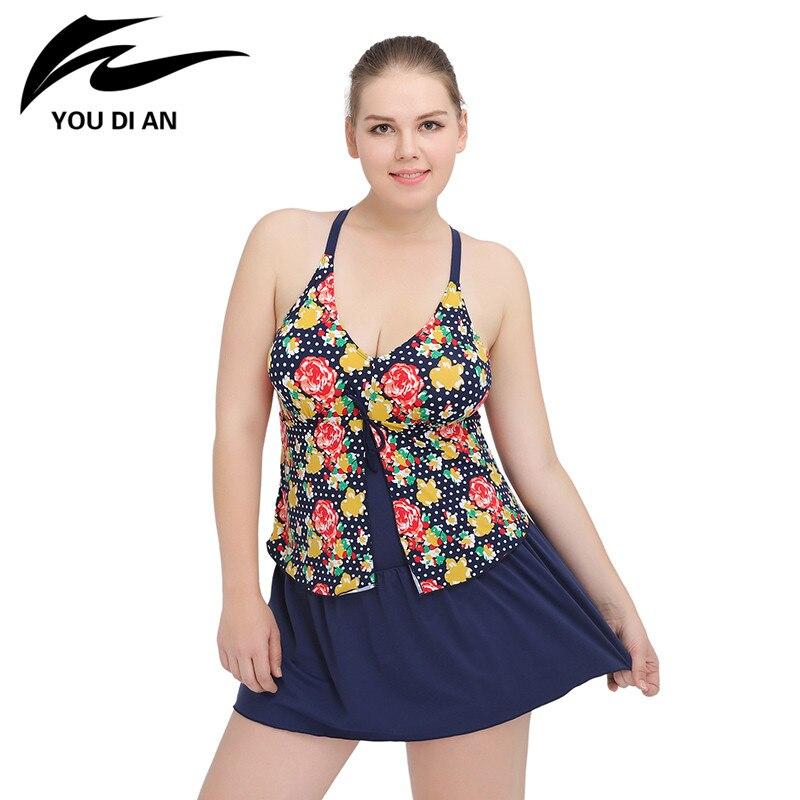 2018 Plus Size Swimsuit Swimming Suit Big Size Swimwear Women One Piece Swimsuit Floral Bathing Suits Becah Dress