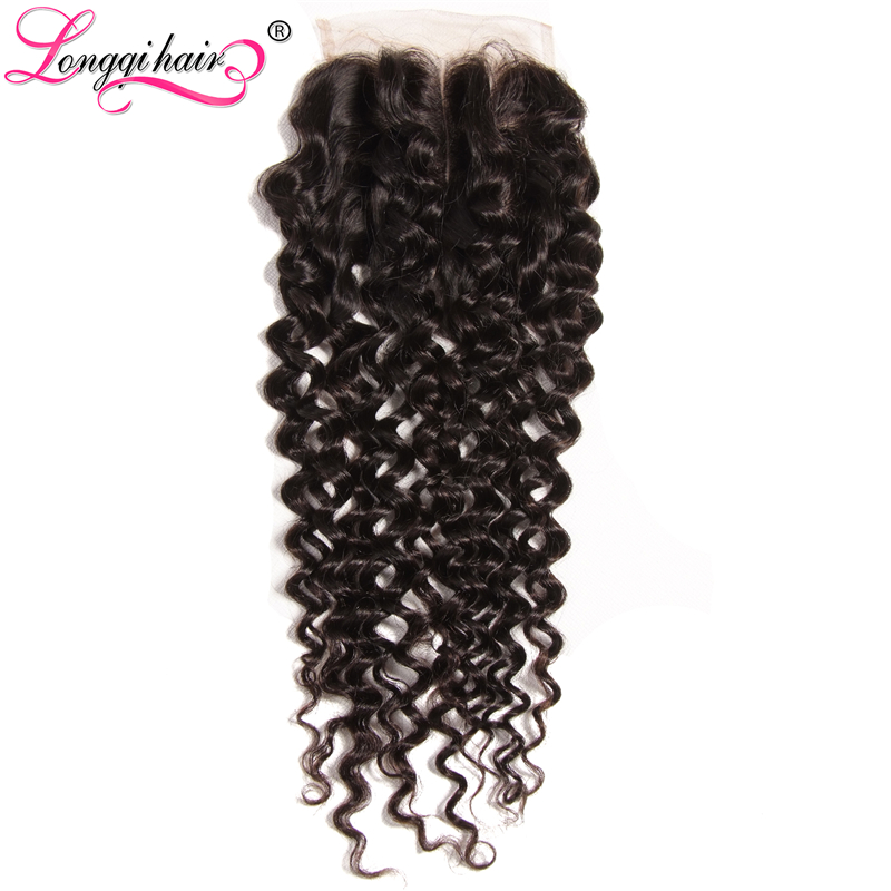 Longqi Hair Malaysian Curly Hair Lace Closure Middle Free Three Part 4 x4 10 20 Inch