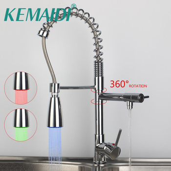 KEMAIDI Modern No Lead Faucet Tap  torneira da cozinha Chrome Polished 97168D009/1 Kitchen Pull Out Swivel Sprayer Faucet