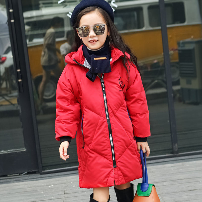 где купить long hooded duck down coats baby big girls solid winter jackets kids warm tops clothing children trench coats for girls clothes дешево