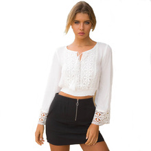 все цены на blouse women long sleeves Lace Stitching Short shirt chiffon blouse summer white woman sexy Fashion womens clothing tops онлайн