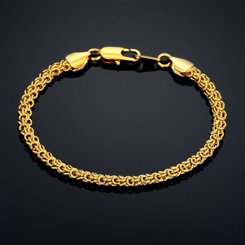 Mens Bracelets 5MM Male Bracelets Wholesale Braslet Gold Color Hand Chain Link Bracelet For Man Jewelry