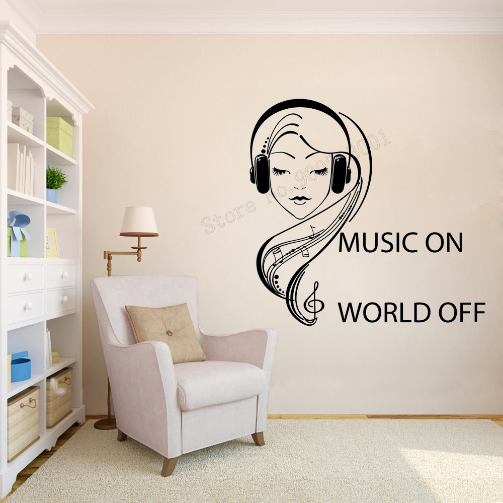 Art  Wall Sticker Music On World Off Room Decorative Girls  Music Keys Removeable  Poster Quotes Teen Mural Headphones DecorLY71