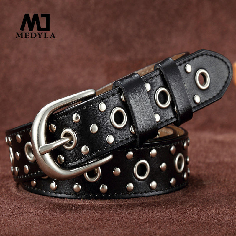 MEDYLA Jeans belt female models leather ladies belt fashion wide casual belt female leather rivet male punk tide