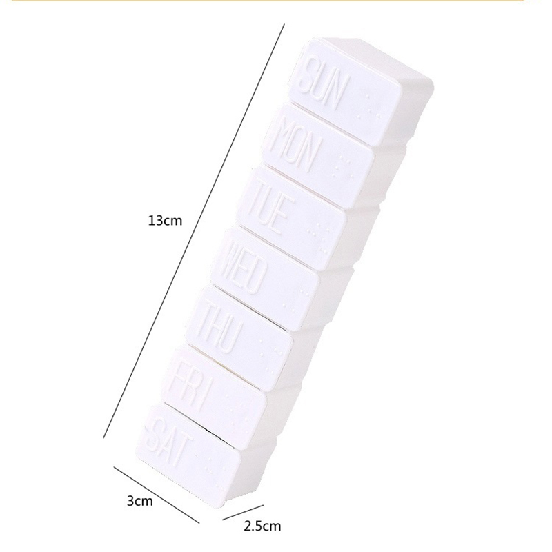 1Pcs White Pill Box 7 Days Weekly Pillbox Medicine Holder Plastic Storage Container For Medicines Tablet Separator Health Care 6