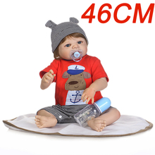 Newest mini 46CM non-toxic enviorment friendly silicone vinyl Reborn Babies Doll Toy Newborn Baby boy Bonecas Bebe