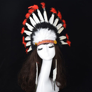 Hot Halloween Carnival Day Colorful Feather Party Hats Headband Indian Style Headwear Villus Chiefs Cap Party Headdress(China)