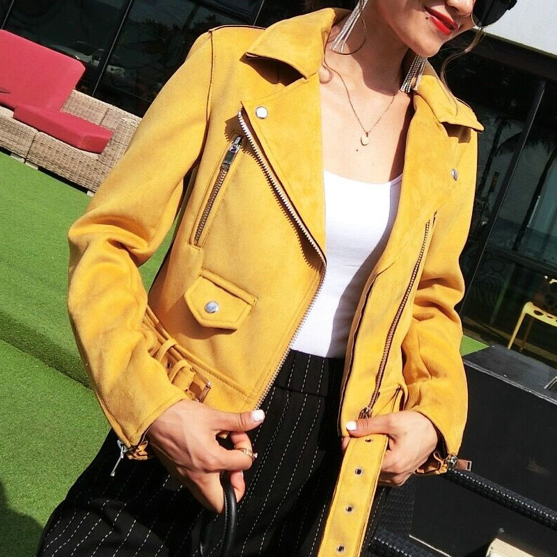 2018 New Hot Women Fashion Soft   Suede   Faux   Leather   Jackets and Coats Lady Matte Turn-down Collar Zippers Belt Pink Outerwear