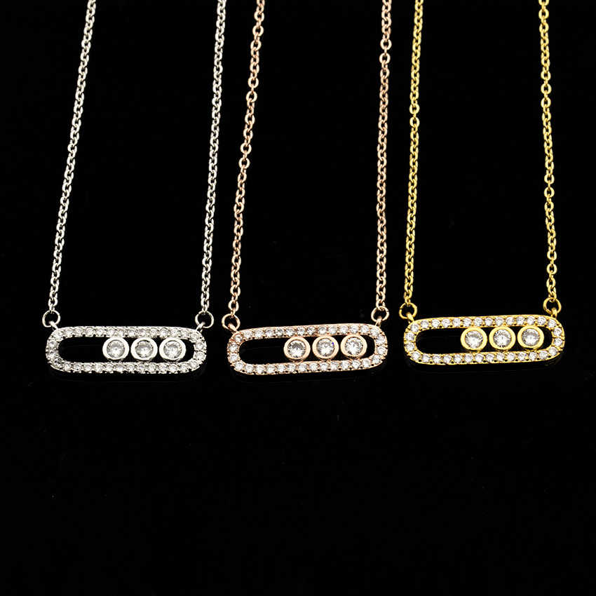 Collar de estilo árabe colgante con cuentas de cristal para mujer, joyería delicada de boda, acero inoxidable, oro rosa, 3 puntos en collar ovalado