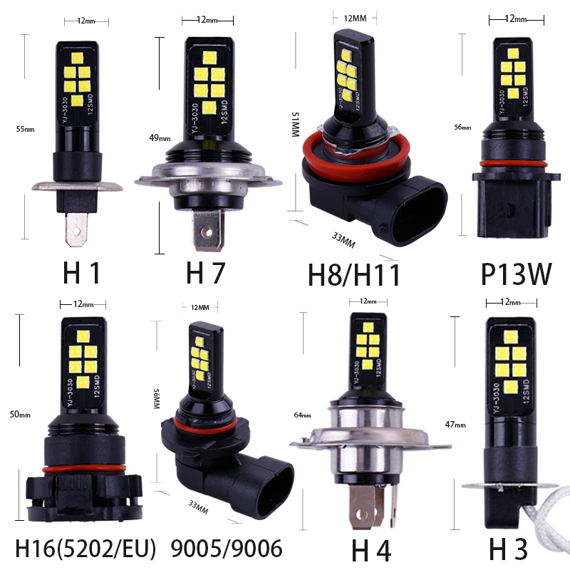 Image 4 - 1PC P13W H11 H8 H4 H1 H3 H7 9005 9006 HB4 HB3 H16 5202 3030 Chips Fog Lights Bulb Car Driving Light Foglamps Auto Leds Lamp 12v-in Car Fog Lamp from Automobiles & Motorcycles