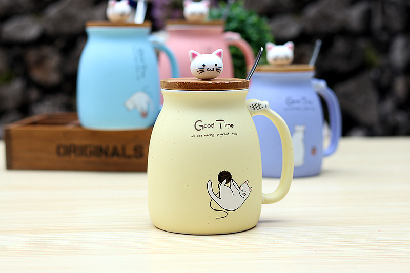 HTB1WLF1G41YBuNjy1zcq6zNcXXae 450ml Cartoon Ceramics Cat Mug With Lid and Spoon Coffee Milk Tea Mugs Breakfast Cup Drinkware Novelty Gifts