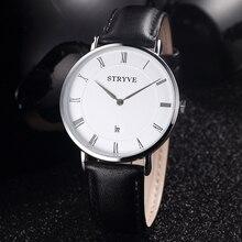 Montre Stryve Brand Kvinner Klokker Minimalistisk Enkel Ultra Tynn Dial 2 Hands Luxury Ekte Skinn Vanntett Kvarts Menn Klokke