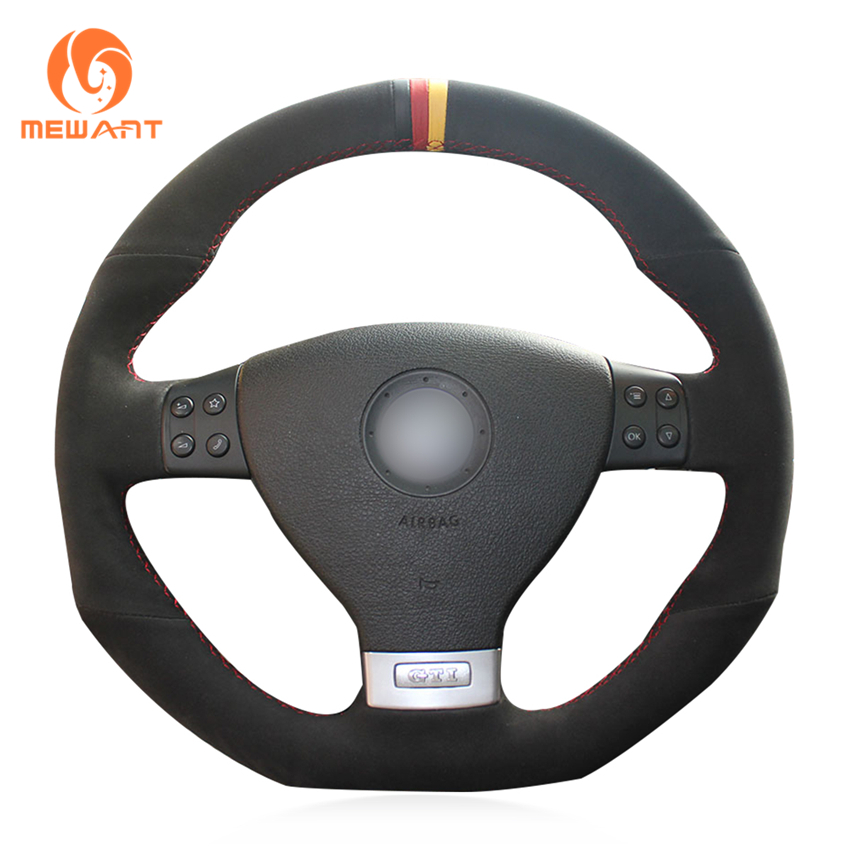 MEWANT Black Suede Black Red Yellow Marker Car Steering Wheel Cover for Volkswagen Golf 5 Mk5 GTI VW Golf 5 R32 Passat R GT 2005 mewant diy car steering wheel cover black suede for volkswagen vw golf 7 gti golf r mk7 vw polo gti scirocco 2015 2016