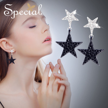 Special Fashion Star Drop Earring 925 Sterling Silver Ear Pins Classic Black Drop Earring Jewelry Gifts for Women S3754E sa silverage hexagon shape drop earring for woman 925 sterling silver green blue color 925 silver drop earrings jewelry earring