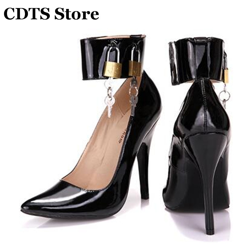 ФОТО CDTS Plus:34-44 Spring 2016 women's sexy party high-heeled 12cm thin heels single shoes cd banding lock Crossdresser Club Pumps