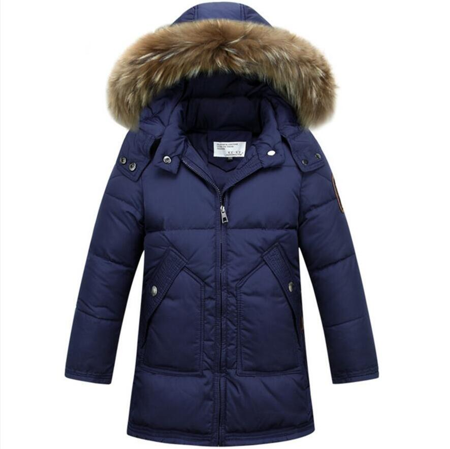 NEW 2017 Baby Boys Down Coats Winter Warm White Duck Down Jackets Fashion Outerwear Parkas For Boy Child Size 120-170 new 2017 fashion girls winter coats female child down jackets top quality outerwear medium long thick 90% duck down parkas