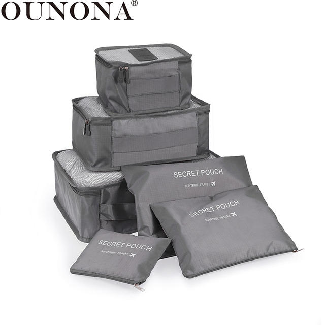 OUNONA 6Pcs Waterproof Travel Storage Bags Clothes Packing Cube Luggage Organizer Pouch (Gray)