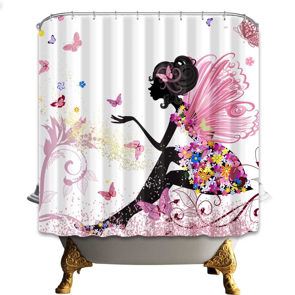 Bathroom Curtains Waterproof Polyester Fabric Shower ...