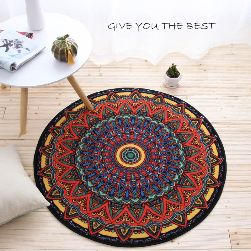 Modern Ethnic Style Geometry Flower Printing Round Carpet Washable Non-slip Rug for Living Room/Bedroom Kid Computer Chair Mat
