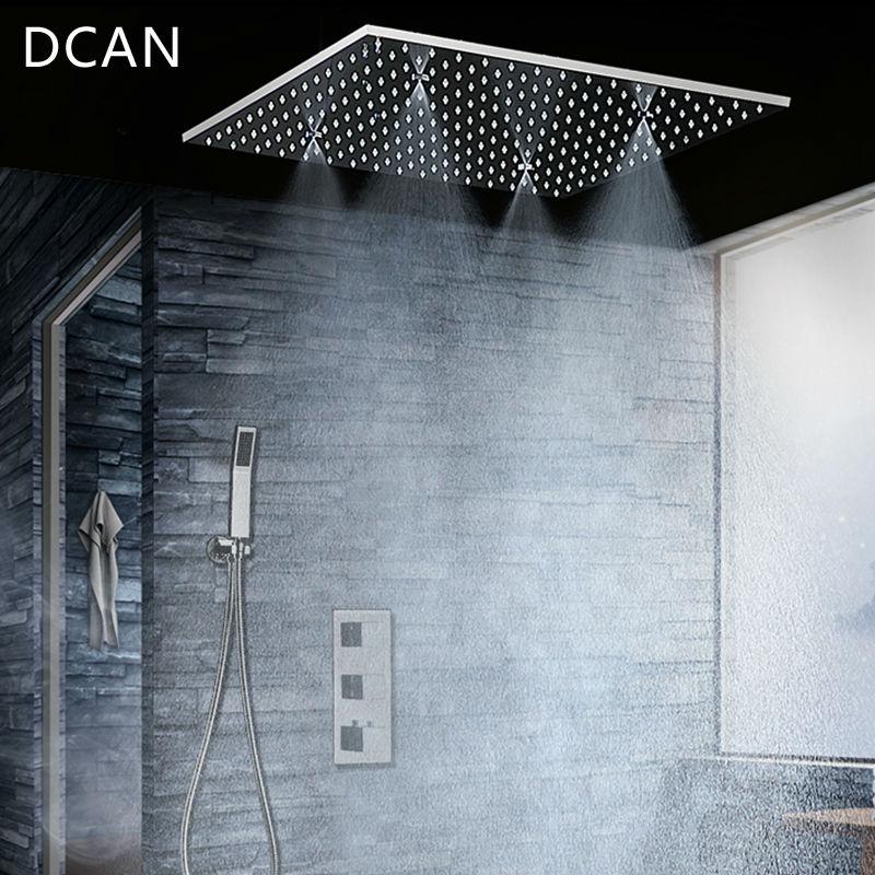 DCAN Deux Fonction Plafond Douche Head Set 20 pouce Misty Pluie Salle De Bain Thermostatique De Douche Spa Avec 4 Bras De Bain & robinets de douche