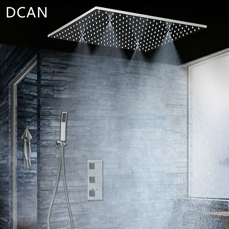 DCAN Due Funzione Doccia A Soffitto Testa Set 20 pollice Pioggia Nebbiosa Bagno Termostatico Doccia Spa Con 4 Bracci Rubinetti bagno e Doccia