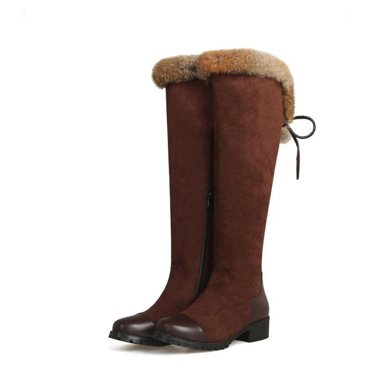 Women\`s Thigh High Boots Autumn Winter Slim Long Tube Over the Knee Boot Big Size 33-43 Female Snow Boots Black Brown Lady Shoe (7)