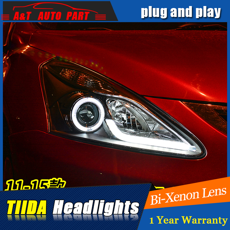 Car Styling For NISSAN TIIDA headlights 2011-2015 For TIIDA LED head lamp Angel eye led DRL front light Bi-Xenon Lens xenon hireno headlamp for 2013 2015 nissan tiida headlight assembly led drl angel lens double beam hid xenon 2pcs
