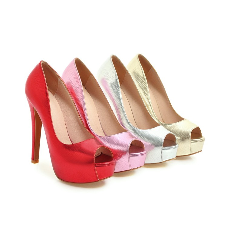 Mariage rouge argent forme Or rose 48red Grand De Plus 17 Chaussures z Xianyiduo 2018 Plate Peep Size34 Or Sexy Femmes Haute Talons Toe Pompes Printemps automne Super HwgO4F