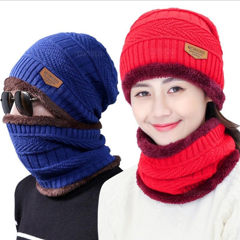 580a227bc6aac Bigsweety Winter Knitted Hat Scarf Beanies Knit Men s Winter Hats Caps  Skullies Bonnet For Men Women