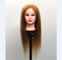 Golden 24 Light Yaki 100% High Temperature Fiber Training Head For Hairdressing Cutting High Quality Mannequin Head With Makeup